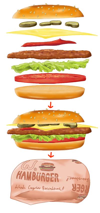 ハンバーガー途中経過