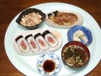 10/13 夕食 ねぎとろ巻、焼きナス、炒り豆腐、ワカメの味噌汁