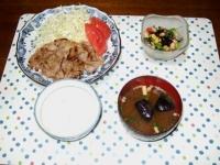 10/14 夕食 豚肉の塩麹焼き、大豆とひじきのサラダ、揚げナスの味噌汁、黒米ごはん