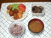 10/20 夕食 ホタテフライ、ナスと油麩の煮物、いんげんとシメジの味噌汁、黒米ごはん