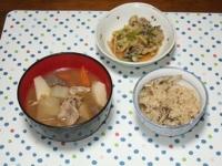 10/23 夕食 カキの香味レンジ蒸し、豚汁、きのこごはん