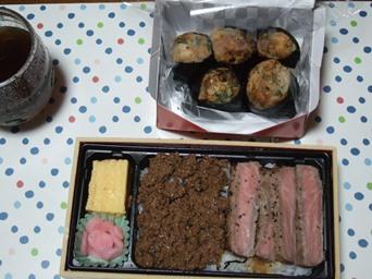 10/30 近江牛ステーキ弁当とタコむす