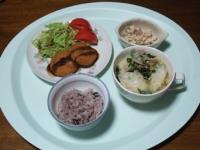 11/6 夕食 チーズインコロッケ、ワンタンスープ、こんにゃくの白和え、雑穀ごはん