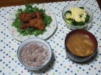 11/14 鶏の唐揚げ、ブロッコリーのタルタルサラダ、大根の味噌汁、雑穀ごはん