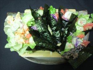 黒の雑穀米で御寿司