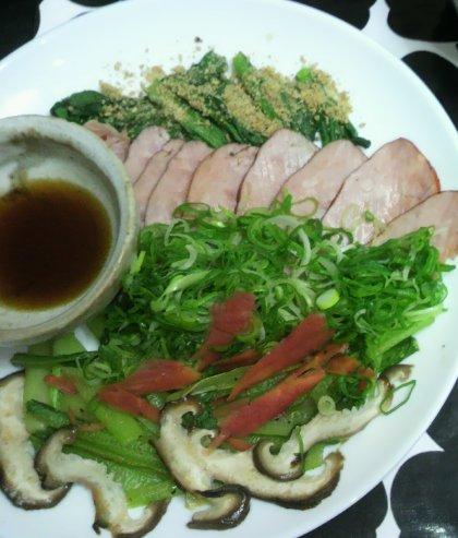 1-6夕飯カレー麺と焼き豚2