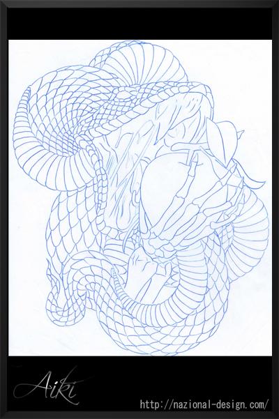 タトゥーフラッシュ 蛇 リンゴ 13922