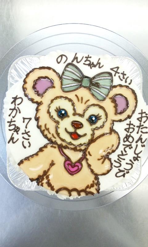 みんな大好き「ダッフィー&シェリーメイ」の、 「シェリーメイ」のイラストケーキです♪