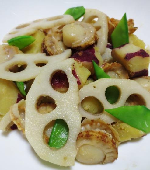ホタテと根菜の炒め物 大