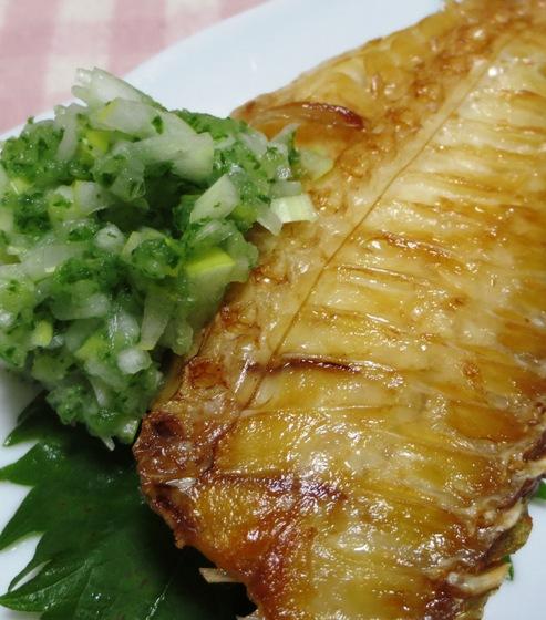 焼き魚のねぎみどり酢添え 拡大