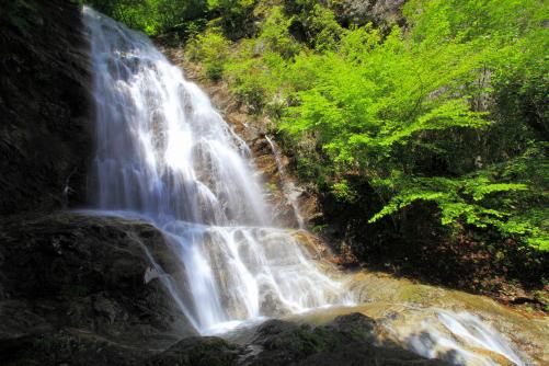 中段右岸から上段の滝を狙う