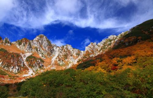 雲と黄葉の彩る宝剣岳