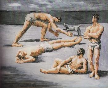 水浴する男たちと犬