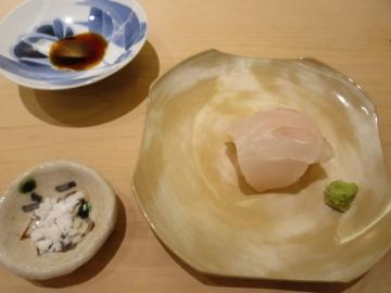 アラは10kgモノだそうで。塩(吉母)と山葵と醤油で。お店の塩は吉母のモノだそう