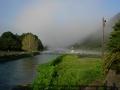 150912大石、瀬田川の朝霧と濁流