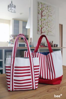 check&stripeのバッグ