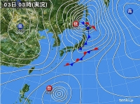 天気図 (2014.11.3 3:00 a.m.)