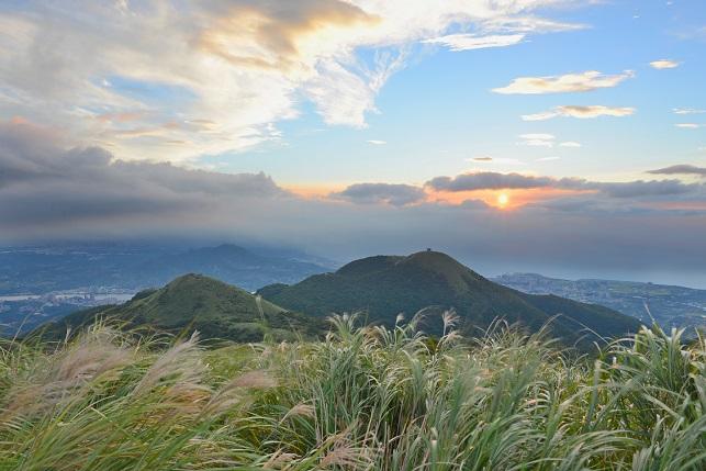 ススキ咲く山の頂