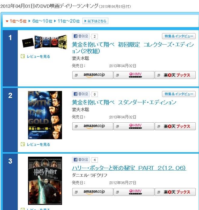 黄金DVDオリコン4/1