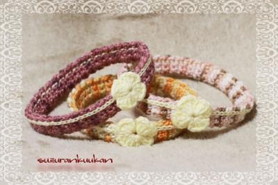 ゆるゆる花付き編み首輪 輪っか 3つ