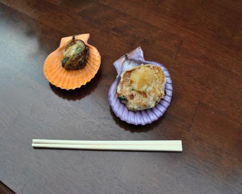 緋扇貝とかつおハンバーグ