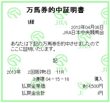 阪神牝馬S三連複証明書