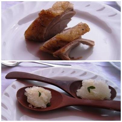 イノシシ肉とソルベ