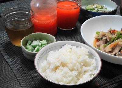 二汁二菜 肉野菜炒めの晩ご飯