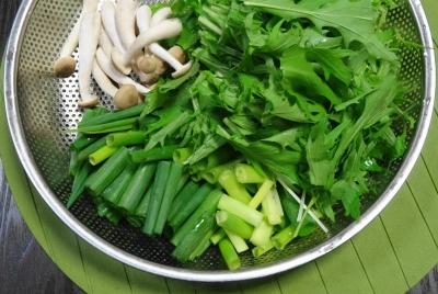 野菜:水菜・九条ネギ・えのき