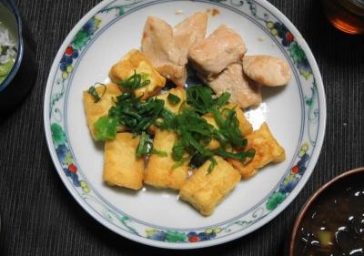 鶏と厚揚げの和風サイコロステーキ