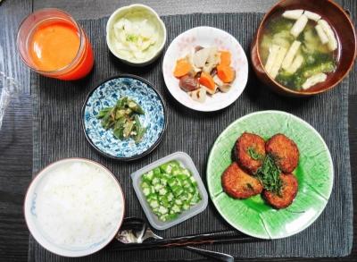 レンコン山芋コロッケの夕食