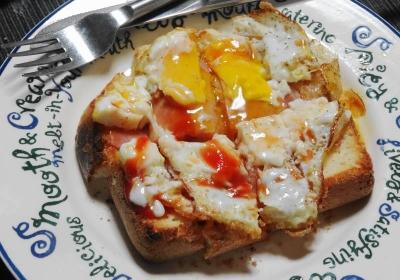 ハムエッグトーストの食べ方について…