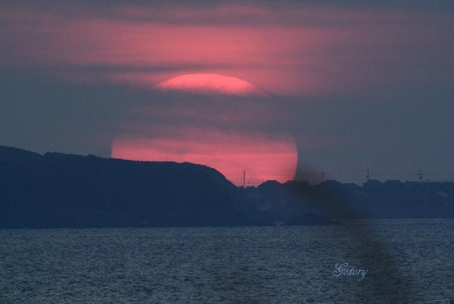 柏崎に沈む夕陽