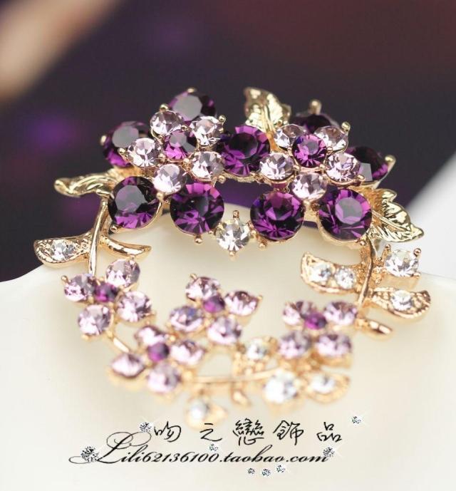 紫水晶の花バスケット アメジストブローチ