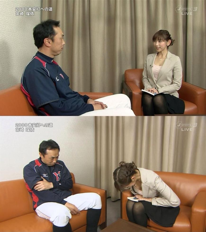 胸元ユルユル衣装でおじぎをした宮崎瑠依のおっぱい谷間