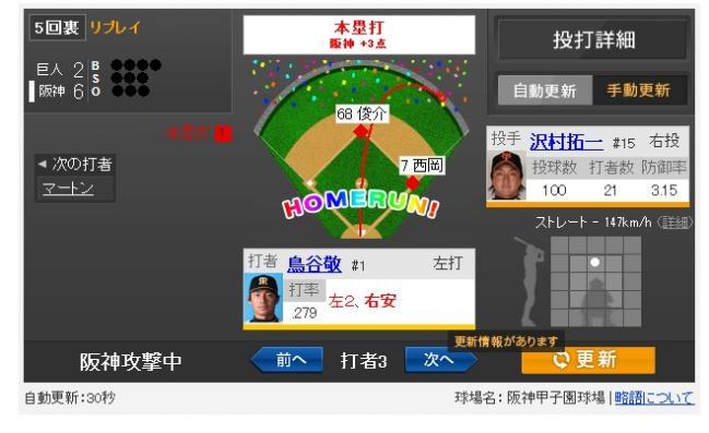 Yahoo!スポーツ - 2013年9月6日 阪神 vs 巨人 一球速報 (3)