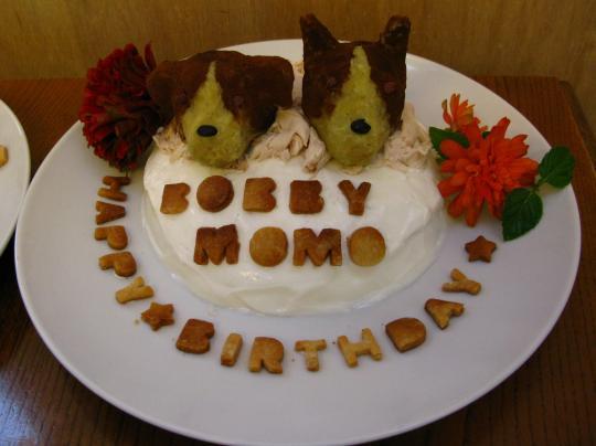 ももちゃん&ボビー君ケーキ。