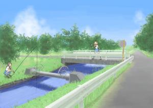 小川の橋で何かを叫ぶ 02