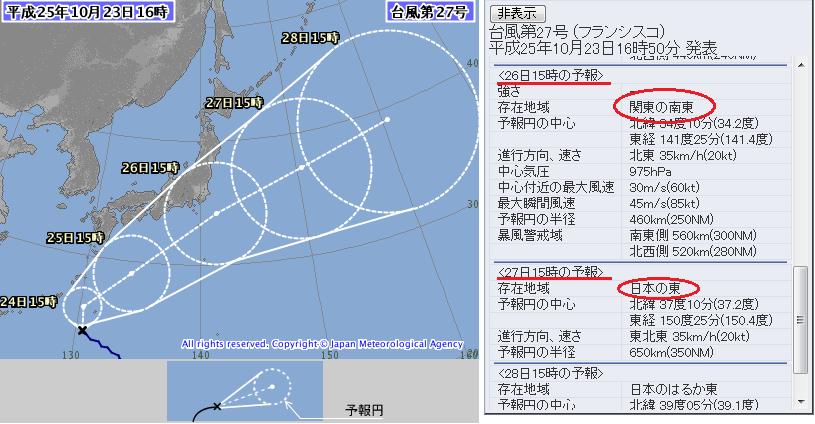 台風27号10月23日2