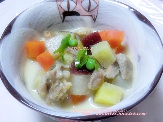 チキンとさつまいもの豆乳スープ♪