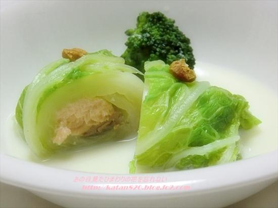 鮭の白菜ロール豆乳煮♪
