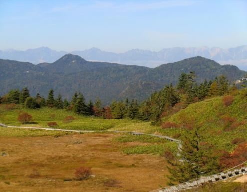 弓池園地の奥に後立山連峰