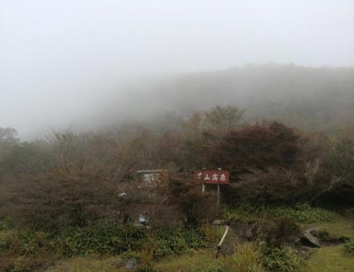 荒山高原も霧の中