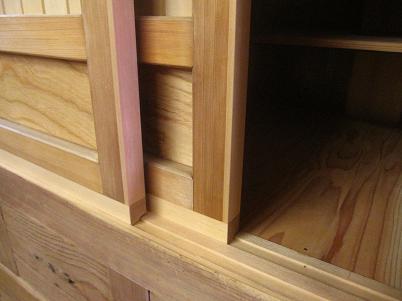 水屋箪笥、引き戸と敷居の修理