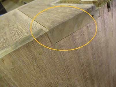 桐たんす再生、側板、反りと接ぎ切れ