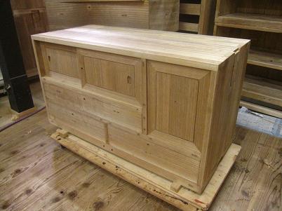桐、時代箪笥、再生、上置き木地修理
