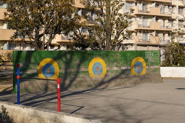 公団浜見平団地の公園内SBOカウント入り壁