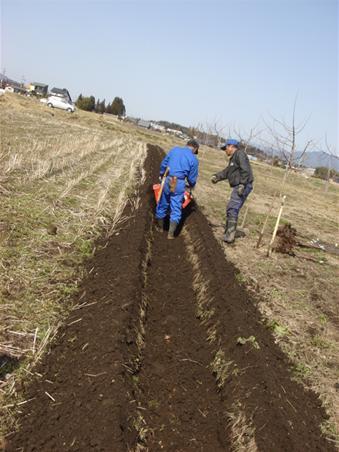 簡易掘削機で溝を掘って.JPG