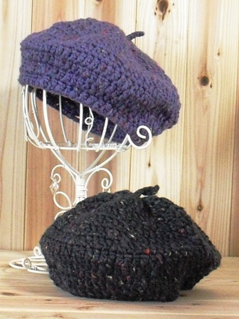 イタリア糸の長編みベレー(097-7,8)