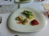 オードブル、変わった形のお皿でした